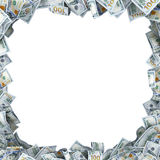 Porción de 100 bancnotes del dólar con un lugar para su texto Fotos de archivo libres de regalías