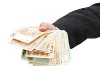 Porción de billetes de banco euro en mano del hombre de negocios Fotos de archivo libres de regalías