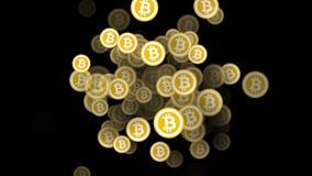 Porción de bitcoins constantemente que aparecen animación 3D stock de ilustración
