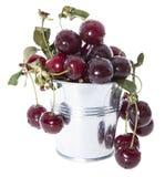Porción de cerezas en blanco Fotografía de archivo libre de regalías