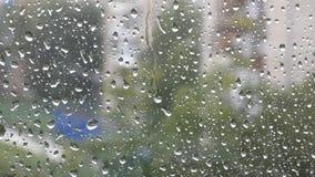 Porción de descensos del agua en ventana almacen de metraje de vídeo