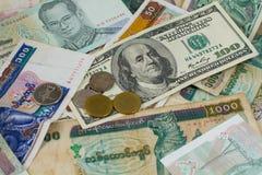 Porción de diverso dinero Fotografía de archivo