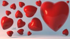 Porción de los corazones 3d en fondo de la turquesa imagen de archivo libre de regalías