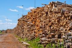 Porción de madera en un área industrial foto de archivo libre de regalías