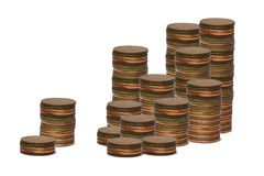 Porción de monedas foto de archivo libre de regalías
