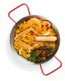 Porción de paella de los mariscos, sobre la visión Imagenes de archivo