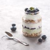 Porción del yogur con el cuadrado fresco entero del desayuno de la harina de avena de los arándanos y de la comida de la dieta sa Foto de archivo libre de regalías