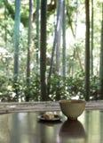 Porción japonesa tradicional de la ceremonia de té con paisaje Imagen de archivo libre de regalías