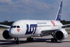 PORCIÓN - Líneas aéreas polacas Foto de archivo libre de regalías