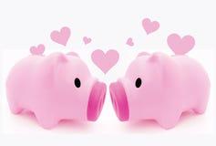 Porcin dans l'amour Photographie stock libre de droits