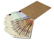 Porción de billetes de banco euro Foto de archivo