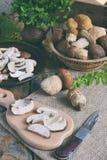 Porcini Cogumelo branco desbastado na placa de corte de madeira Cogumelos selvagens comestíveis Preparação de alimento Cópia s da Foto de Stock Royalty Free