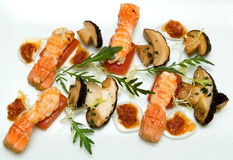 Porcini Mushrooms And Grilled Lobster Royalty Free Stock Image