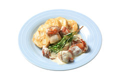 Porcini mushrooms in cream sauce and dumplings Stock Photography