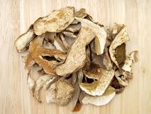 Porcini mushrooms. Group of dried porcini mushrooms Stock Photography