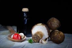 Porcini mushrooms. Natural autumnal food ingredients Stock Photos