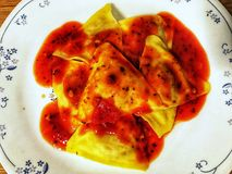 Porcini ravioli with marinara sauce Royalty Free Stock Images