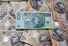 Porciones de billetes de banco polacos Fotos de archivo libres de regalías