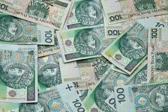 Porciones de billetes de banco verdes polacos Fotos de archivo libres de regalías