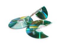 Porciones de CD quebrado Foto de archivo libre de regalías
