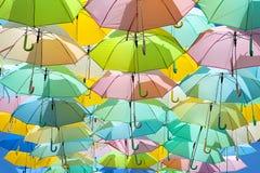 Porciones de colorear de los paraguas Imágenes de archivo libres de regalías