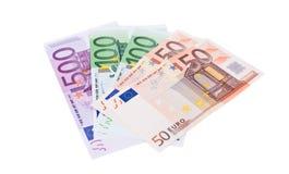 Porciones de dinero euro Foto de archivo libre de regalías