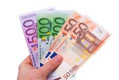 Porciones de dinero euro Fotografía de archivo libre de regalías