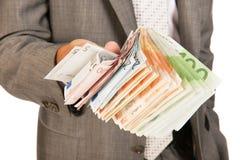 Porciones de dinero euro Imagen de archivo