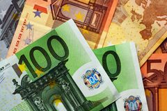 Porciones de euros Imagen de archivo libre de regalías