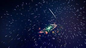 Porciones de fuegos artificiales vivos en la celebración almacen de video