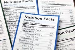 Porciones de hechos de la nutrición fotografía de archivo