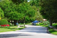 Porciones de la calle w de Residentail de árboles verdes enormes Foto de archivo