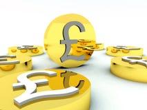 Porciones de las monedas de libra británica 3 imágenes de archivo libres de regalías