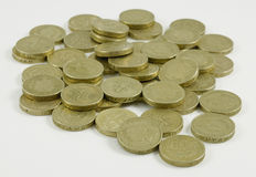 Porciones de monedas de libra foto de archivo libre de regalías