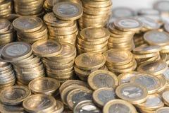 Porciones de monedas euro Foto de archivo