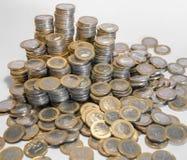 Porciones de monedas euro Foto de archivo libre de regalías