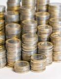 Porciones de monedas euro Fotos de archivo libres de regalías