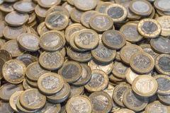 Porciones de monedas euro Imágenes de archivo libres de regalías