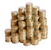Porciones de monedas euro Fotografía de archivo libre de regalías
