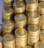 Porciones de monedas euro Imagen de archivo libre de regalías