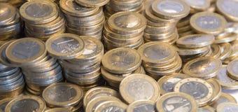 Porciones de monedas euro Imagen de archivo