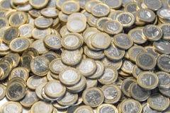 Porciones de monedas euro Fotografía de archivo