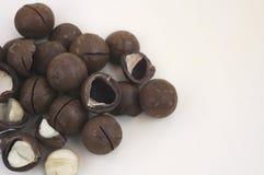 Porciones de nueces de macadamia Fotografía de archivo