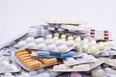 Porciones de píldoras Fotografía de archivo