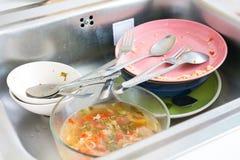 Porciones de platos sucios Fotos de archivo
