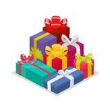 Porciones de regalos coloridos en el fondo blanco Illustrati del vector Ilustración del Vector