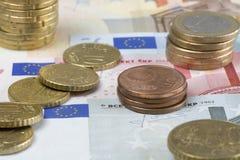 Porciones del euro Imagenes de archivo
