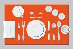 Porcj naczynia i cutlery Fotografia Royalty Free