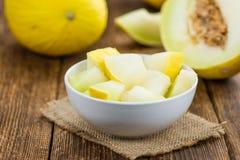 Porcja Żółta miodunka melonu selekcyjna ostrość Zdjęcie Stock