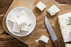 Porcja świeży cutted Feta ser Obrazy Royalty Free